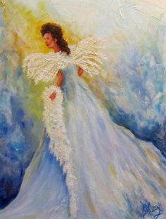 Light of Grace,angel,original oil painting.Sandra Cutrer Fine Art