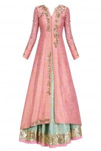 Turquoise Blue Handwoven Brocade Lehenga with Peach Embroidered Jacket