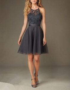 Shop Morilee's Short Tulle Bridesmaid Dress with Beaded Embroidery. Bridesmaid Dresses and Gowns by Morilee designed by Madeline Gardner. Short Tulle Bridesmaid Dress with Embroidery and Beading with Satin Waistband Grey Bridesmaid Dresses Short, Grey Bridesmaids, Tulle Bridesmaid Dress, Designer Bridesmaid Dresses, Hoco Dresses, Pretty Dresses, Designer Dresses, Beautiful Dresses, Evening Dresses