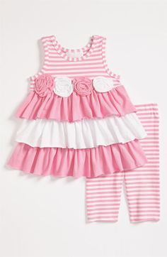 Bonnie Baby Dress & Leggings (Infant) available at Nordstrom Baby Girl Dress Patterns, Little Dresses, Little Girl Dresses, Baby Dresses, Dress Girl, Pink Dress, Baby Girl Fashion, Toddler Fashion, Kids Fashion