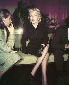 """Marilyn at a press conference to announce her return to Hollywood with """"Bus Stop"""", 1956."""
