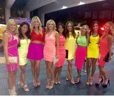 Neon Bachelorette Party!... I like this idea with the neon wigs?