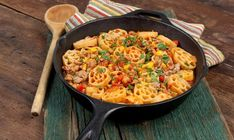 Super easy and delicious Tex-Mex flavours with pasta all in one skillet.