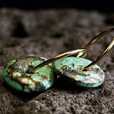 Turquoise stone Gold Earring 14 karat plated with a Turquoise stone  earrings junam jewelry