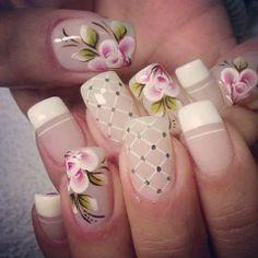 unhas desenhadas flores francesinha artísticas faça você mesma
