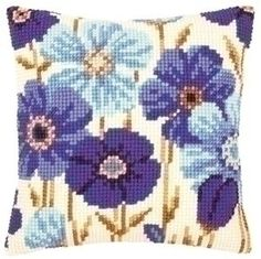 Borduren kussen blauwe anemonen 0145051