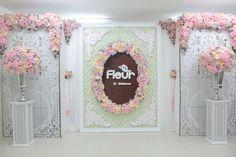 F L E U R Backdrop Design, Floral Backdrop, Backdrop Decorations, Paper Flower Backdrop, Photo Booth Backdrop, Flower Decorations, Paper Flowers, Backdrops, Engagement Decorations