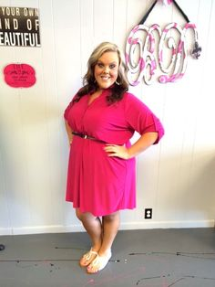 Pink Three Quarter Sleeve Dress - New 70% Off Items Added Weekly - #blondellamydean #plussizefashion #plussize #curves