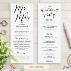 Long wedding program template