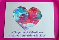 Finger-paint valentine a toddler can make.. This is what Casen was already going to do for his class, looks so cute!! :)