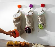 Smart Kitchen Storage Ideas for Small Spaces fruit/veg sacks. Storage+ defense from fruit flies!