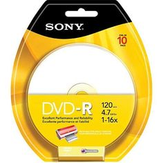Sony 4.7GB DVD-R Printable Recordable Media, 10 Pack 10DMR47RBP4 by Sony. $5.99. Blister Pack / Up to 2 hours of audio or video at up to 16x writing speeds / Use for data storage and archiving / Printable surface