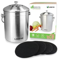 brushed stainless steel compost pail u0026 indoor kitchen bin composting pinterest compost pail composting and outdoor gardens