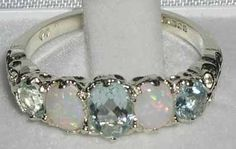High Quality Solid Sterling Silver Natural Aquamarine & Opal English Victorian Ring - Size 4.25 - Finger Sizes 4 to 12 Available