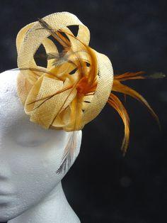 Barley and orange feathers fascinator hat by SpiritofHarlequin