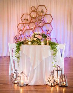 geometric wedding, hip wedding reception, 2017 wedding reception, candles, pastels, broom groom dinner table, terrarium, destination wedding @greenweddingshoes