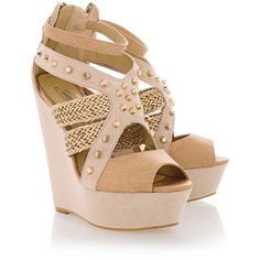 TIMELESS ECHO Nude Studded Wedges ($91) ❤ liked on Polyvore featuring shoes, sandals, heels, wedges, zapatos, platform wedge sandals, ankle strap heel sandals, high heel platform sandals, high heel sandals and high heel shoes