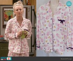 Penny's pink feather print pajamas on The Big Bang Theory.  Outfit Details: https://wornontv.net/86883/ #TheBigBangTheory
