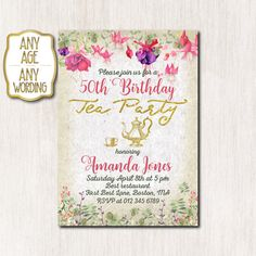 50th Birthday Tea Party Invitation By CoolStudio On Etsy 50