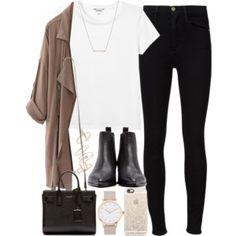 white tee, black jeans, black booties, taupe jacket