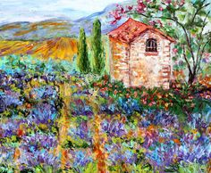 Original Provence Lavender painting on canvas by Karensfineart Paintings I Love, Beautiful Paintings, Beautiful Landscapes, Lavender Paint, Provence Lavender, Modern Impressionism, Palette Knife Painting, Texture Art, Fine Art Gallery