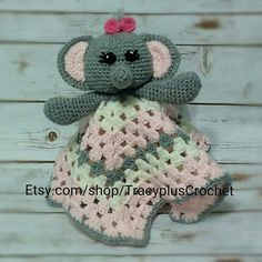 Crochet Elephant security blanket. Elephant by TracyplusCrochet