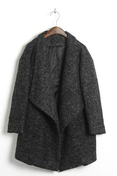Oversized Lapels Tweed Coat by OASAP