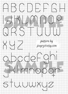 Items op Etsy die op Cross Stitch - Back Stitch Pattern - Alphabet lijken Cross Stitch Letter Patterns, Cross Stitch Letters, Cross Stitch Heart, Simple Cross Stitch, Stitch Patterns, Cross Stitching, Cross Stitch Embroidery, Embroidery Alphabet, Embroidery Fonts