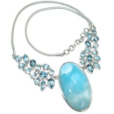 $349.95 Caribbean+Beauty+Blue+Larimar+Swiss+Blue+Topaz+Sterling+Silver+handcrafted++necklace at www.SilverRushStyle.com #necklace #handmade #jewelry #silver #larimar
