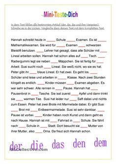 Mini-Teste-Dich: Bestimmter Artikel im Text