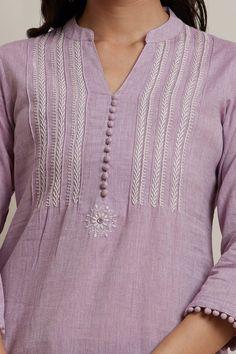 Designer Wear: Shop Designer Ethnic Wear by Farida Gupta Embroidery On Kurtis, Kurti Embroidery Design, Hand Embroidery Patterns, Plain Kurti Designs, Kurta Designs Women, Churidar Neck Designs, Work Blouse, Cotton Style, Indian Wear