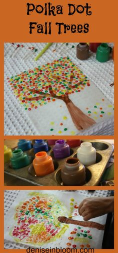 Fun fall project for kids! Polka Dot Fall Trees
