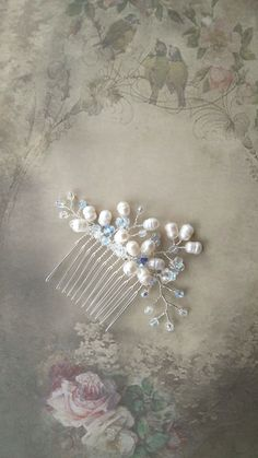 Something blue small wedding hair comb, White freshwater pearl flower, Bridal hair comb accessory, Swarovski crystal, Bridesmaid comb by OdesiaMayJewellery on Etsy