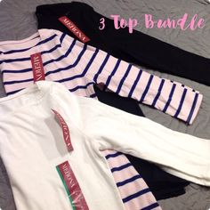 Bundle of 3 Boatneck Tops Three Boatneck 3/4 sleeve tops. Classic style tops in black, white, and light pink with navy stripes. Brand new with tags. Buy now for 2.99 shipping! Merona Tops Tees - Long Sleeve