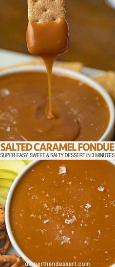 Caramel fondue is a fun and easy interactive sweet and salty dessert with just three ingredients the whole family will LOVE! Caramel fondue is a fun and easy interactive sweet and salty dessert with just three ingredients the whole family will LOVE! Dessert Dips, Köstliche Desserts, Delicious Desserts, Dessert Recipes, Caramel Chocolate Chip Cookies, Salted Caramel Brownies, Chocolate Caramel Fondue Recipe, Salted Caramel Desserts, Salted Caramel Sauce