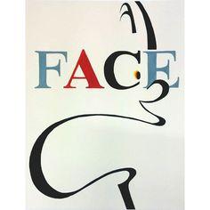 「FACE」の文字を入れて口と目をモチーフに顔のイメージを描きなさい。