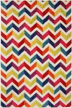 A stunning rainbow of color this design features a trendy zig zag pattern.