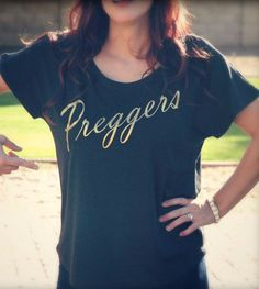85f307f4778 Gold Preggers Scoop Neck Shirt