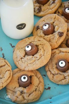 Halloween Cookies-right after the cookies came out of the oven, stick some Rolo candies in the middle of the warm cookies and then stuck a candy eyeball on the top.  (Wilton candy eyes in the baking section of a  grocery store, or Wal-Mart or Target)