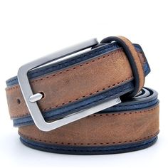 Casual Patchwork Men Belts Designers Luxury Men Fashion Belt Trends Trousers With Three Color To Choose - Luxery Casual Belt, Style Casual, Men Casual, Leather Buckle, Leather Belts, Leather Men, Men's Belts, Brown Leather, Mens Tan Belt