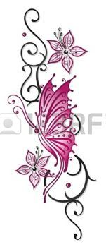 tattoo designs: Floral tribal with butterfly in black and pink