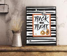 Trick Or Treat Print, Funny Bat Print #Halloween Print, Halloween Wall Art #Pumpkin Card 11x14', 8x10', 5x7', A6 $3.00 http://etsy.me/2yBIE2c  #TrickOrTreat #Bat #Print #WallArt