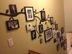 Great way to display old photos on a family tree wall: