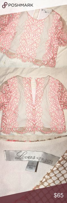 Lovers + Friends Pink Taluca Night lace crop top Lace crop top with white and coral coloring. Lightly worn, excellent condition. Lovers + Friends Tops Crop Tops