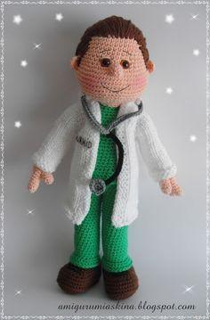 amigurumi doktor bey not in English or a pattern. Crochet For Boys, Love Crochet, Crochet Baby, Knit Crochet, Amigurumi Doll, Amigurumi Patterns, Doll Patterns, Knitted Dolls, Crochet Dolls