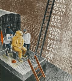 The Diver, lithograph by Eric Ravilious - 1941.