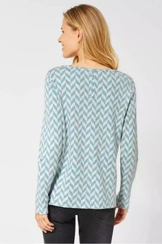 Shirt mit Fischgrätenmuster - light water green melange - CECIL Online-Shop Pullover, Blouse, Long Sleeve, Tops, Sleeves, Sweaters, Shopping, Women, Products