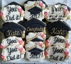 graduation parties ***Please contact me prior to placing your order to be sure that I have availability for your date.*** **The price posted on this listing is for one dozen be Graduation Desserts, Graduation Party Planning, College Graduation Parties, Graduation Cupcakes, Graduation Celebration, Graduation Decorations, Grad Parties, Graduation Ideas, Pink Graduation Party