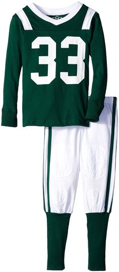Wes and Willy Little Boys' Slim Football Long Sleeve Pajama 33, UM Green, 5. Tight fitting to meet government standards for children's pajamas. Patented football pants with detailed stitching to mimick the real uniform. Subtle features make this pj look like a real football uniform.