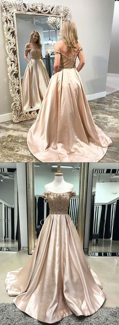 Champagne satin beaded long prom dress, off shoulder A-Line evening dress